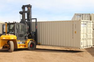 Forklift Moving a Container